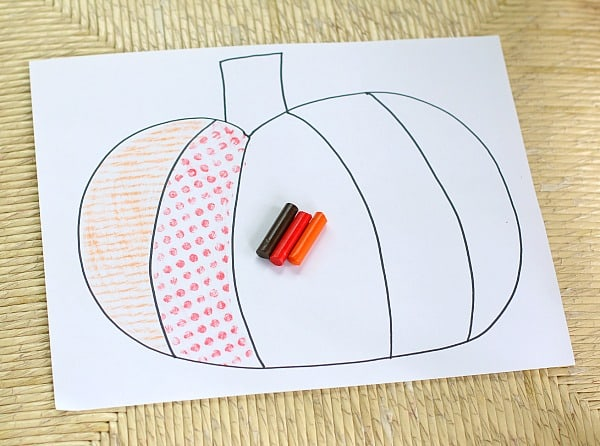 Textured Pumpkin Fall Art for Kids