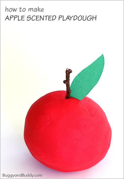 How to Make Apple Scented Playdough~ BuggyandBuddy.com