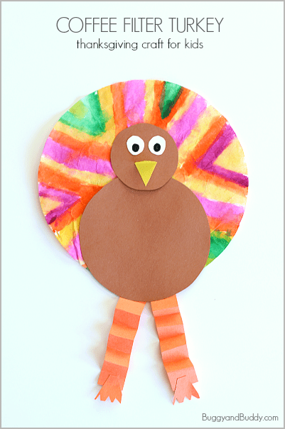Easy thanksgiving crafts for kids coffee filter turkey for Preschool turkey crafts easy