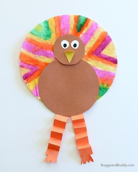 Thanksgiving Crafts for Kids: Coffee Filter Turkey Craft for Kids~ BuggyandBuddy.com