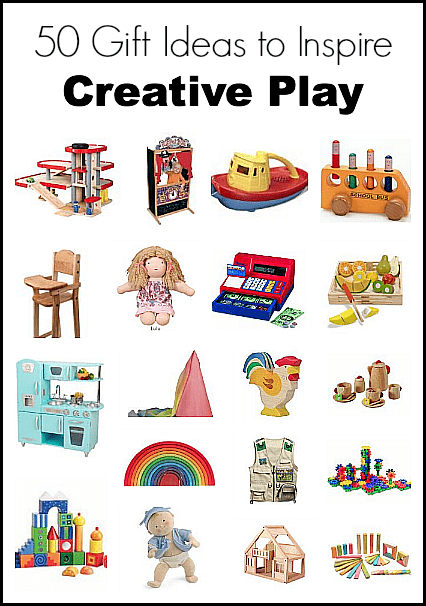 50 Gift Ideas to Inspire Creative Play: Lots of fun toy ideas for kids of all ages to encourage imaginative play- including toys for dress up, building and construction, trucks and cars, and more!