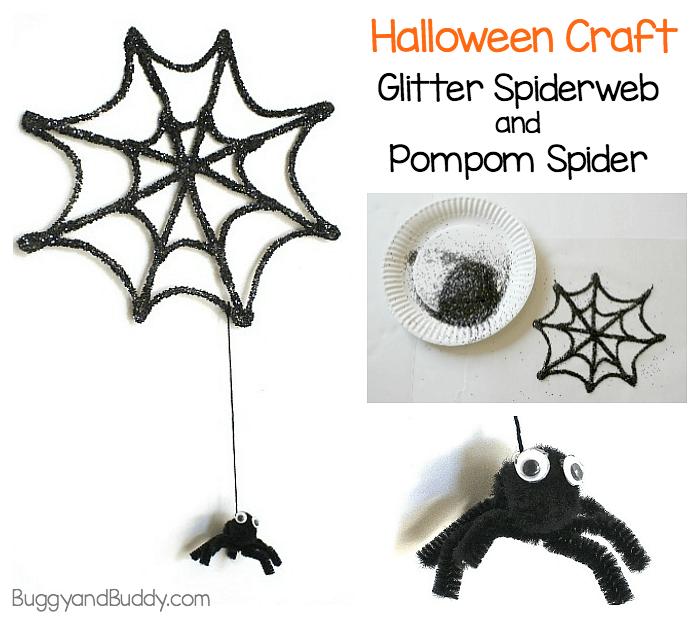 Halloween Craft for Kids: Glitter Spiderweb and Pompom Spider