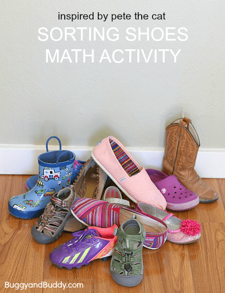 Sorting Shoes (Math Activity for Kids Inspired by Pete the Cat: I Love My White Shoes)~ BuggyandBuddy.com