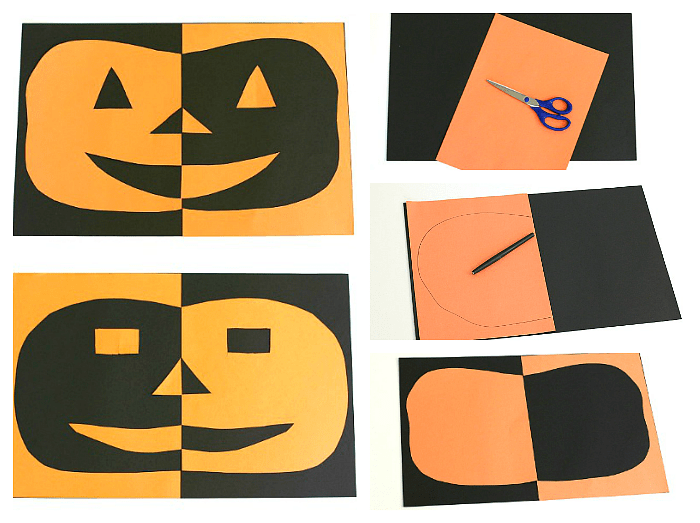 Halloween Crafts Kids Positive Negative Space Jack O Lantern on Fall Art Projects For Kids Textured Pumpkins Using Crayon