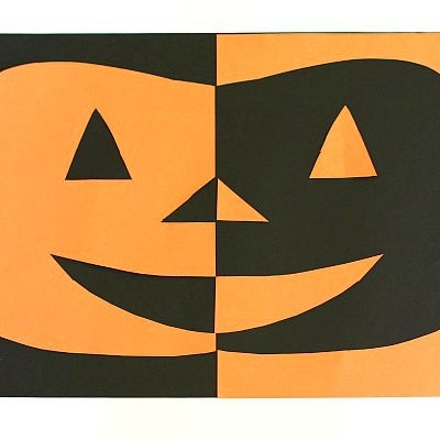 Positive and Negative Space Paper Jack-O-Lantern Craft