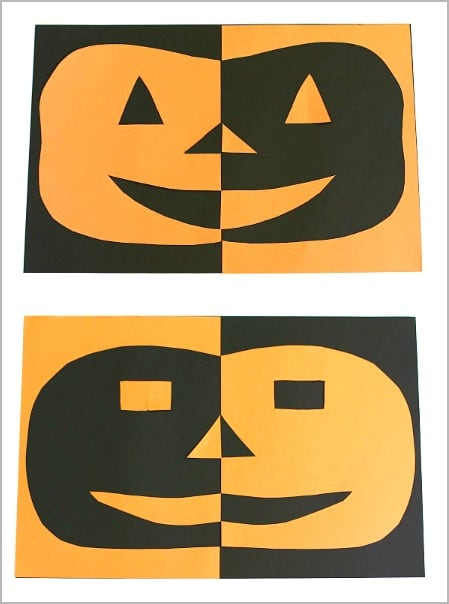 Love this Halloween craft for kids! (Positive and Negative Space Jack-O-Lanterns)~ BuggyandBuddy.com