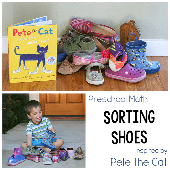 Preschool Math for Kids: Sorting Shoes hands-on math activity for kids inspired by Pete the Cat: I Love my White Shoes