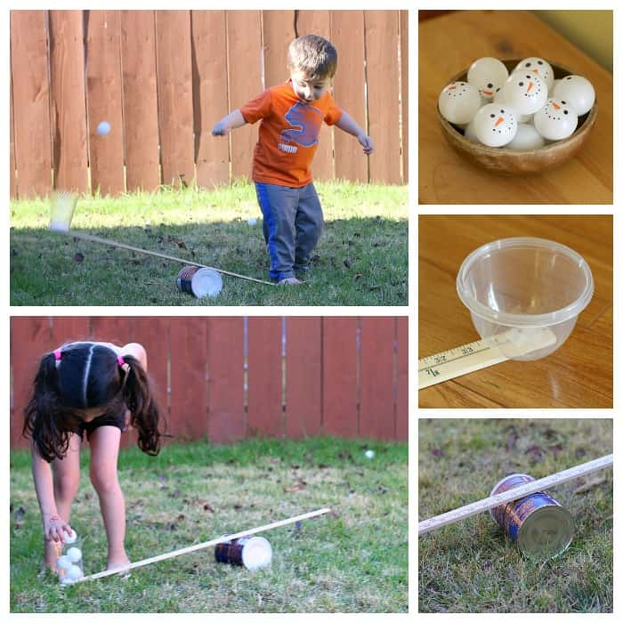 Winter STEM for Kids: Launch Ping Pong Ball Snowmen