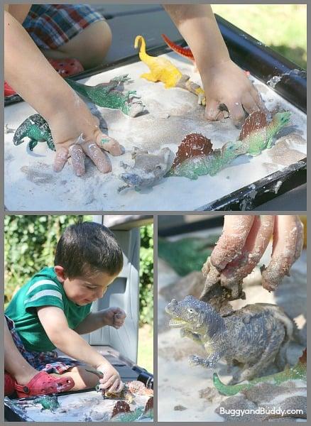 Sandy Oobleck Recipe- A fun sensory material that kids can help make!~ BuggyandBuddy.com