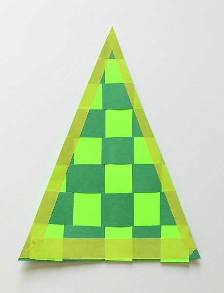 cut out woven christmas tree craft