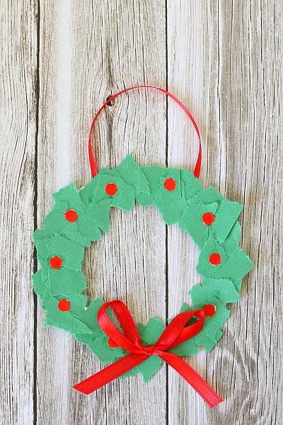 homemade christmas ornaments tear art christmas wreaths   buggy and