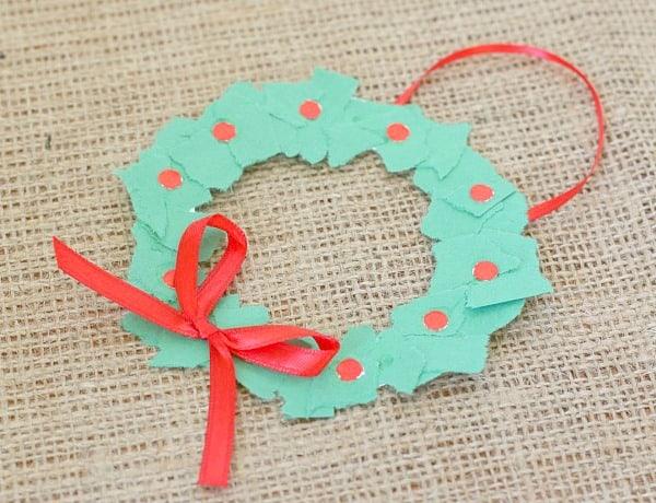 Christmas Crafts for Kids: Homemade Tear Art Christmas Wreath Ornament