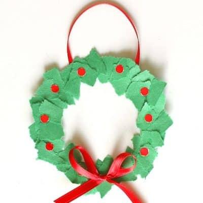 Homemade Christmas Ornaments: Tear Art Christmas Wreaths