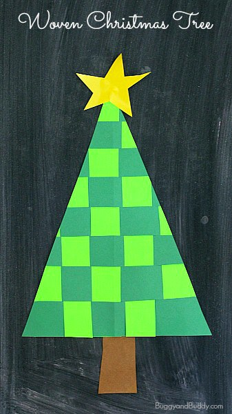 Christmas crafts for kids woven paper christmas tree for Christmas tree art and craft