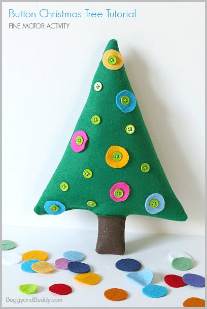 Christmas Learning Activities for preschool, button tree