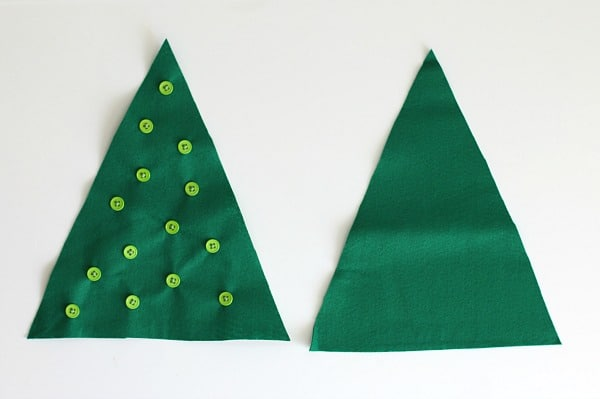 sew buttons on your felt christmas tree