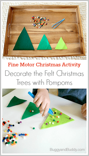 Fine Motor Christmas Activities: Decorate the Felt Christmas Trees~ BuggyandBuddy.com