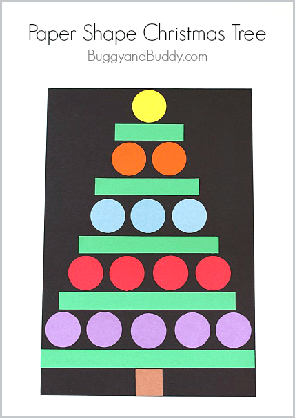 Christmas crafts for kids paper shape christmas tree for Christmas crafts for kindergarten students