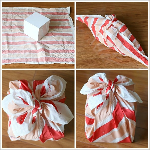 Diy fabric gift wrap furoshiki buggy and buddy for How to wrap presents with wrapping paper