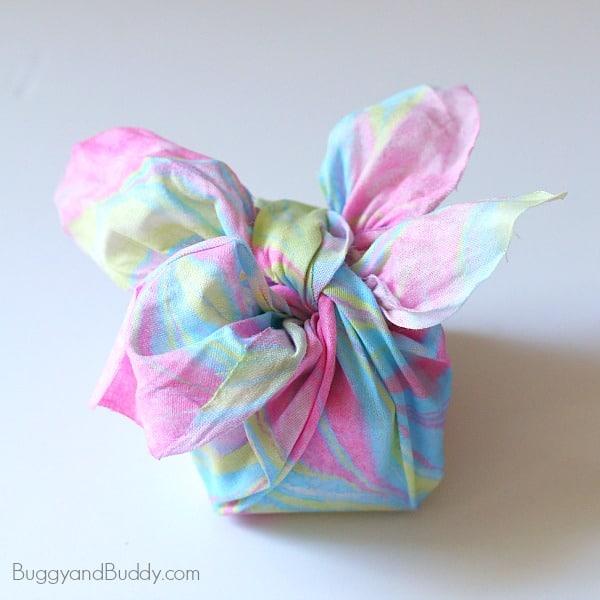 Homemade gift wrap using fabric