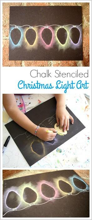 Christmas Art Project for Kids: Make Christmas Lights Using Chalk Stencils!