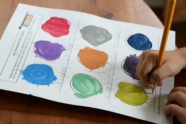 Fun color mixing activity: Create your own colors and name them! (Inspired by the book, Mix It Up!)~ BuggyandBuddy.com