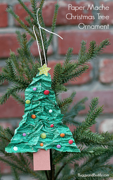 Homemade Christmas Ornaments for Kids to Make: Paper Mache Christmas Tree~ BuggyandBuddy.com