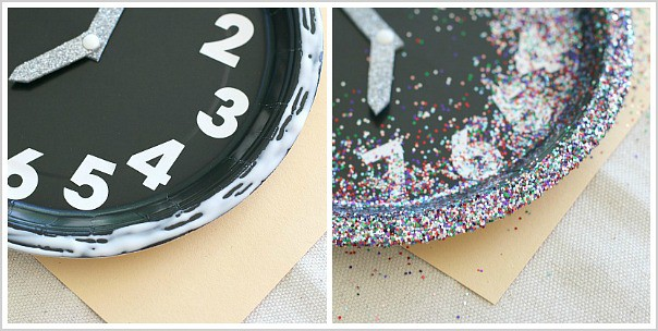 add glitter to your paper plate clock