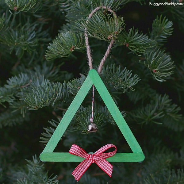 Popsicle Stick and Jingle Bell Homemade Christmas Tree Ornament