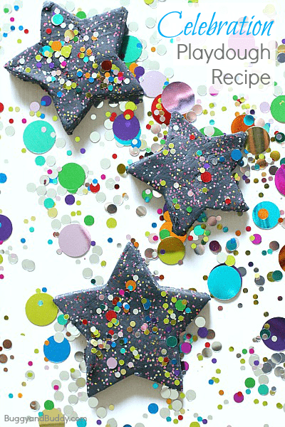 Perfect sensory play activity for New Years or a Birthday! (Celebration Homemade Playdough Recipe)~ BuggyandBuddy.com