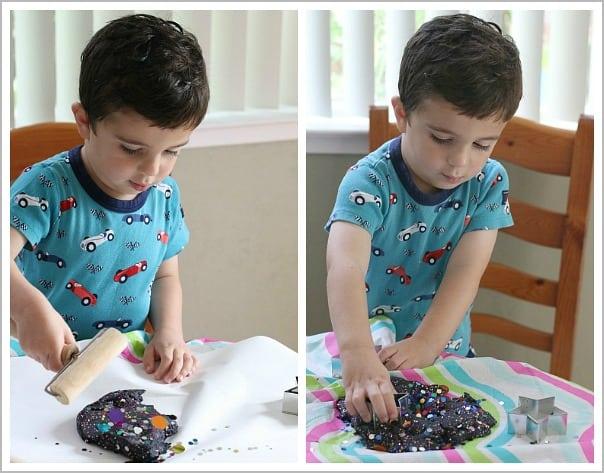 playing with homemade playdough