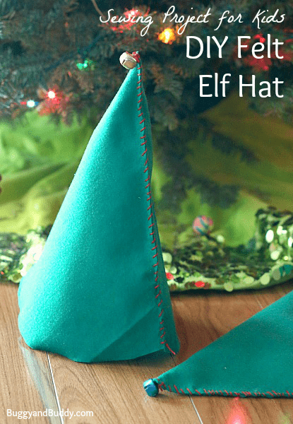 Perfect beginning sewing project for kids: DIY Felt Elf Hat~ BuggyandBuddy.com