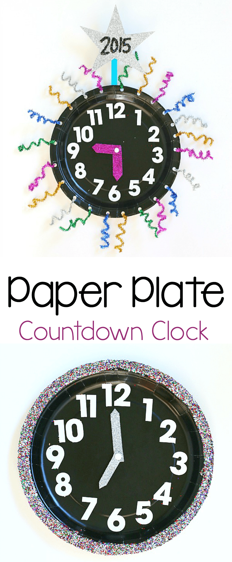 paper plate countdown clock craft for new year's eve