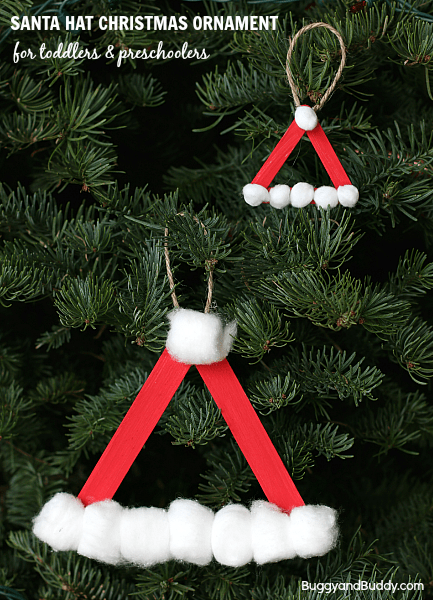 Santa hat homemade christmas ornament using craft sticks for 2 year old christmas ornaments crafts