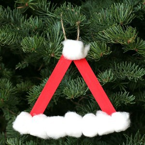 Santa Hat Homemade Christmas Ornament Using Craft Sticks