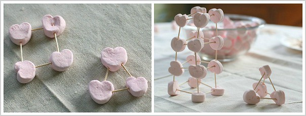 Learning Activities for Valentine's Day: Build shapes with marshmallows and toothpicks