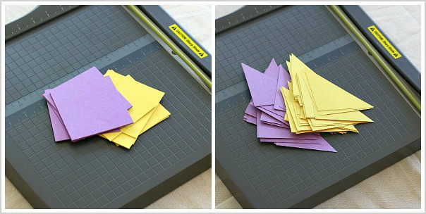 cut out paper squares and triangles for paper quilt activity for kids