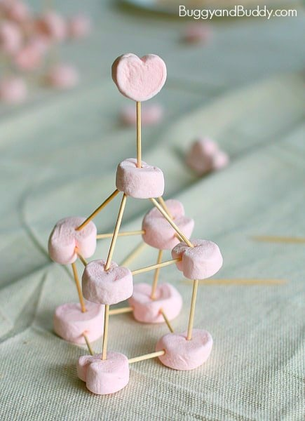 Would make a fun math lesson or activity for a Valentines Day Party! (Building with Heart Marshmallows and Toothpicks)~ BuggyandBuddy.com