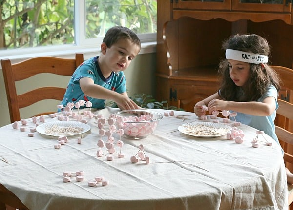 Valentine Activity for Kids: Building with Heart Marshmallows and Toothpicks