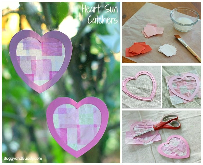 Valentine Crafts For Kids Heart Suncatchers Using Tissue Paper
