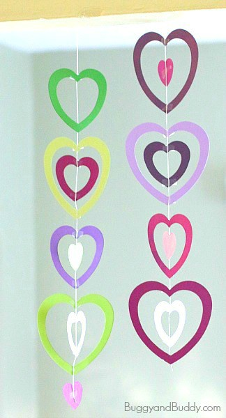 Valentine crafts for kids paper heart mobile buggy and for Easy heart crafts