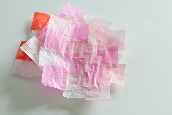 dried tissue paper squares