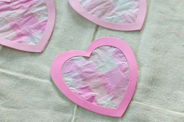 Heart-Shaped Tissue Paper Suncatchers for Valentine's Day
