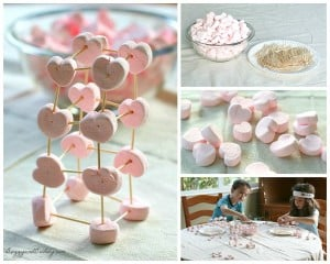 Valentine's Day STEM Activity for Kids: Building with toothpicks and marshmallows