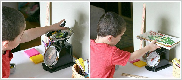 preschool math: kids exploring a scale