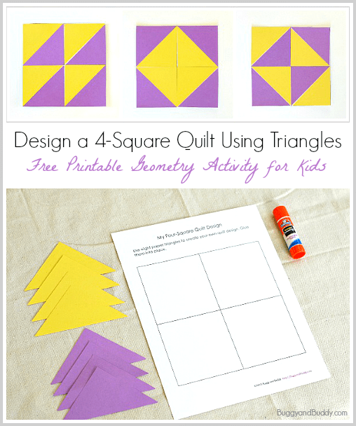 Geometry For Kids Quilt Activity Using Triangles Free Printable