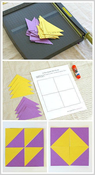 Shape Activity for Kids: Use paper triangles to create a quilt pattern. (Free Printable)~ BuggyandBuddy.com