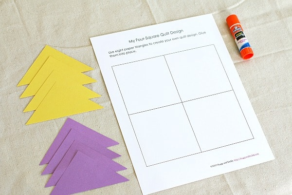 Shape Activity for Kids: Design a quilt square using triangles