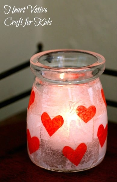 Makes a great teacher gift for Valentine's Day! (Tissue Paper Heart Votive Craft for Kids)~ BuggyandBuddy.com
