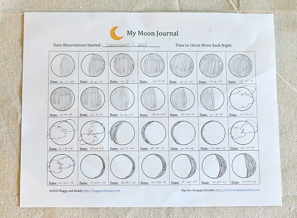 Free Moon Observation Journal for Kids~ BuggyandBuddy.com